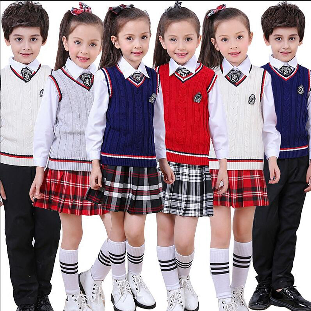 Enfants japonais coréen uniformes scolaires pour fille garçons bleu marine Style hauts jupe Shorts cravate enfants Plaid à manches longues vêtements tenues