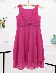 Image 3 - Iefiel 소녀 쉬폰 매듭 허리와 파란 꽃 소녀 드레스 공주 미인 대회 결혼식 신부 들러리 생일 파티 여름 드레스