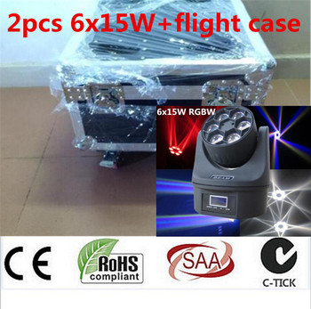 2 piezas 6x15 w + flightcase + 1,2 m cable dmx RGBW 4in1 Mini Led haz lavar abeja luz dj cabeza móvil