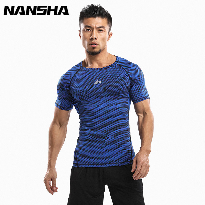 NANSHA Heren Fitness 3D Prints Korte Mouwen T-shirt Heren Bodybuilding Skin Tight Thermal Compression Shirts Crossfit Workout Top