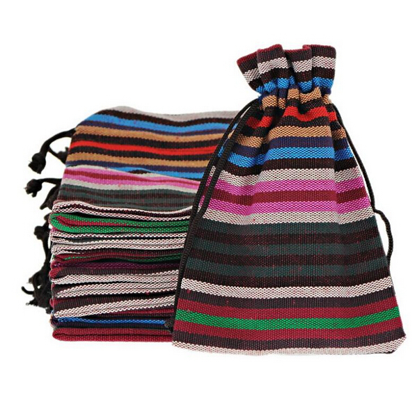 2019 New 100Pcs 10x14cm Bunt Stripes Tribal Tribe Drawstring Jewelry Gift Bags Pouches