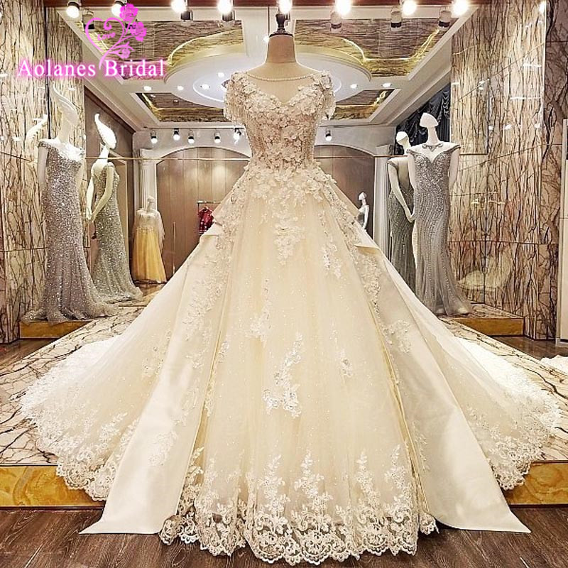 Hot Sale Luxury Soft Tulle flowers Cap Sleeve Lace Beads Crystal Beaded Royal Train Custom Size Wedding Dresses 2017 New Style