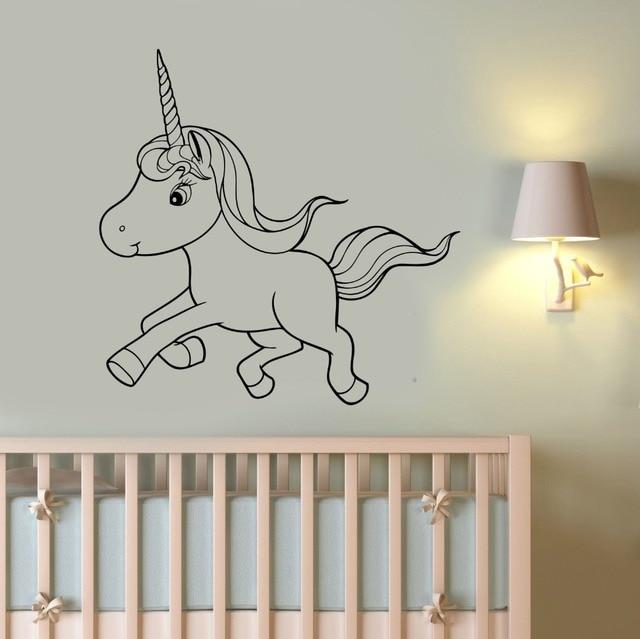 cute unicorn wall sticker little pony vinyl decal horse art cartoon