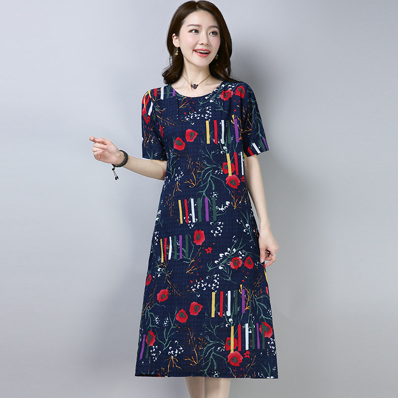 MIWIMD Women Summer Dresses 2018 New Fashion Casual Loose Cotton Linen Printed Round Neck Short Sleeve Long Dress Big Size