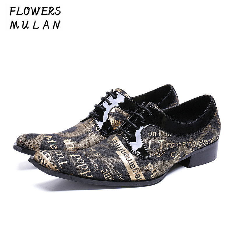 Mixed Color Printing Letter Leather Upper Men Dress Shoes Graffiti Real Leather Lace Up Male Footwear  Pointed Toe Man Shoes