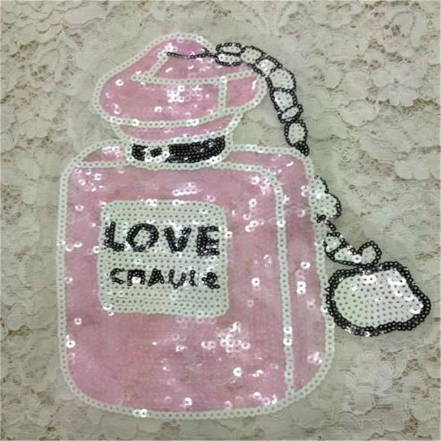 sequins perfume bottle iron on patches for clothes Sew-on embroidered patch motif applique deal with it clothing Christmas gift