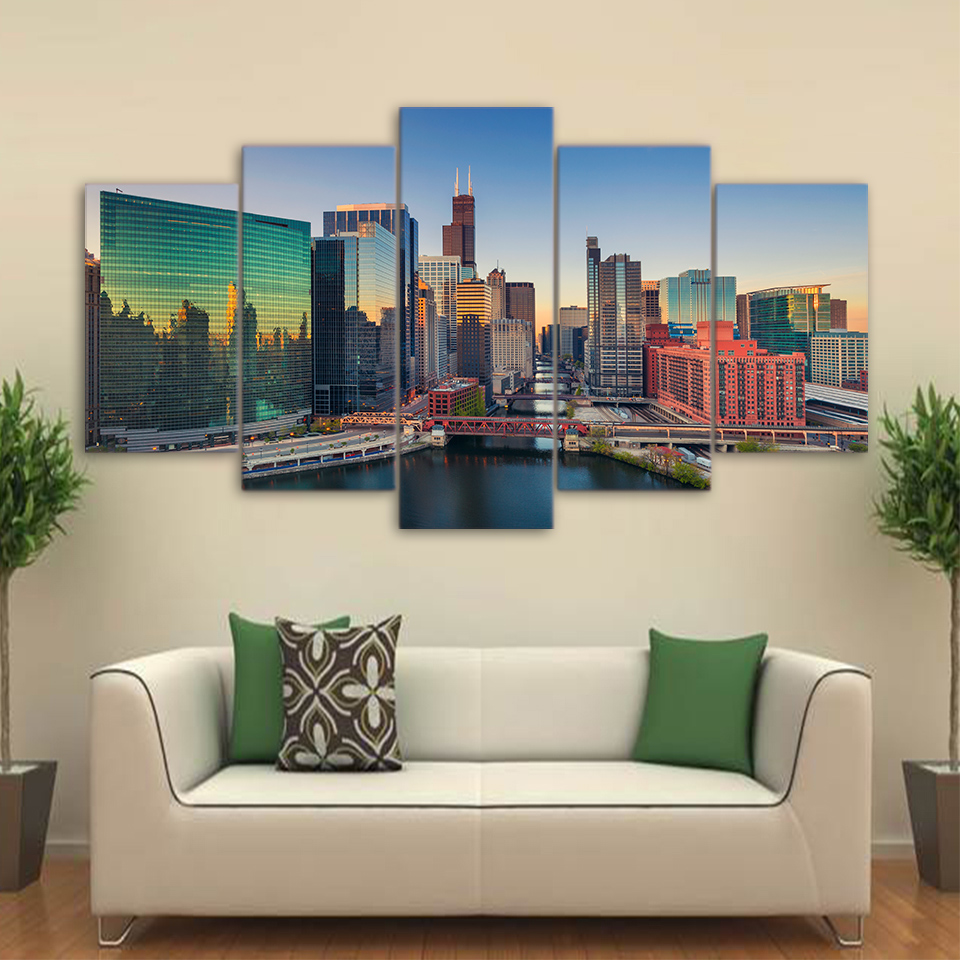 5 Pcs City Building Skyscraper Modern Canvas Painting Frame Poster Wall Picture Home Decor Print On Canvas For Living Room