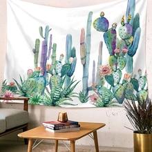 Dropship Wall Hanging Tapestry Green Cactus Watercolor Mandala Art Boho Decor Cloth Tapestries Carpet