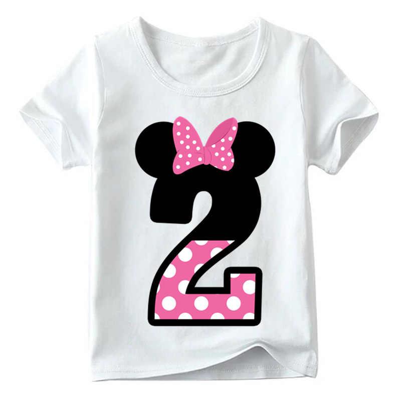 เด็กทารกสาววันเกิดแฮปปี้โบว์น่ารักพิมพ์เสื้อผ้าเด็กตลกเสื้อยืดคอรอบคอเด็กหมายเลข 1-9 วันเกิด
