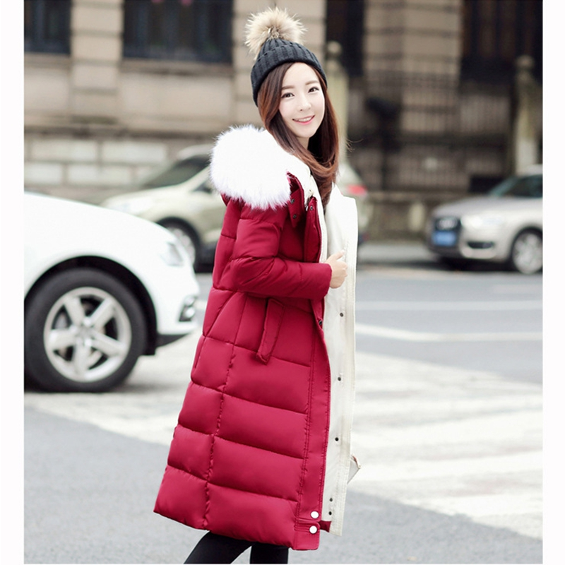 2017 NEW WOMEN WINTER JACKET MEDIUM LENGTH FUR COLLAR HOODED COAT THICKEN WARM FEMALE PARKAS COTTON PADDED HOT SALE ZL474 women winter coat leisure big yards hooded fur collar jacket thick warm cotton parkas new style female students overcoat ok238