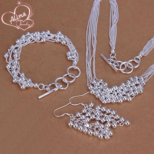 Free Shipping silver plated jewelry set, fashion jewlery set Six-Strands Shine Beads Earrings Bracelet Necklace Jewelry Set S137