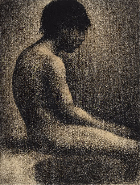 Canvas Art Prints Stretched Framed Giclee World Famous Artist Oil Painting Georges Seurat <font><b>Seated</b></font> <font><b>Nude</b></font> <font><b>Study</b></font> For Une Baignade