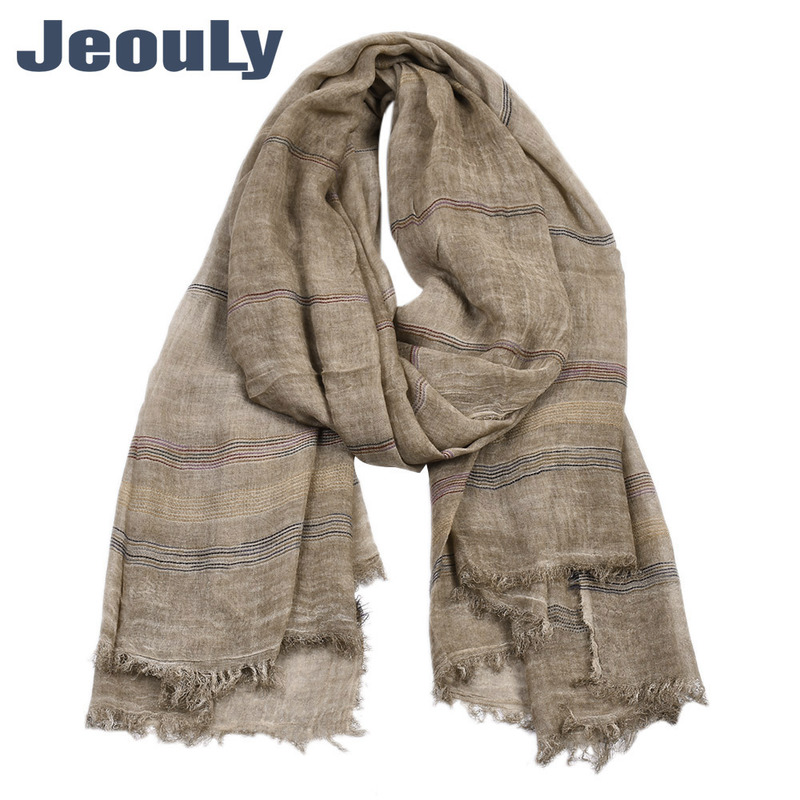 United States Men's 2019 New Yarn Dyed Stripe Scarf Male Winter Pure Color Cotton And Linen Scarf Factory Direct Sale