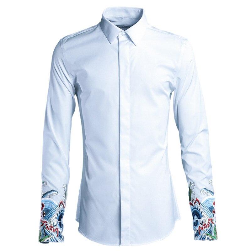 Broderie originale style chinois chemise homme mode tendance printemps et été chemise blanche homme haut de gamme chemises décontractées hommes camisa-in Casual Shirts from Vêtements homme    1
