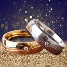 Women's Men's Titanium Steel Rhinestone Plain Wedding Engagement Ring Size 6-11 A87B