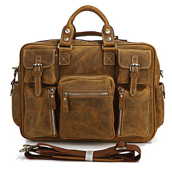 7028B Rare Crazy Horse Leather Men's Brown Business Briefcase Laptop Bag Dispatch Shoulder Huge 16.5
