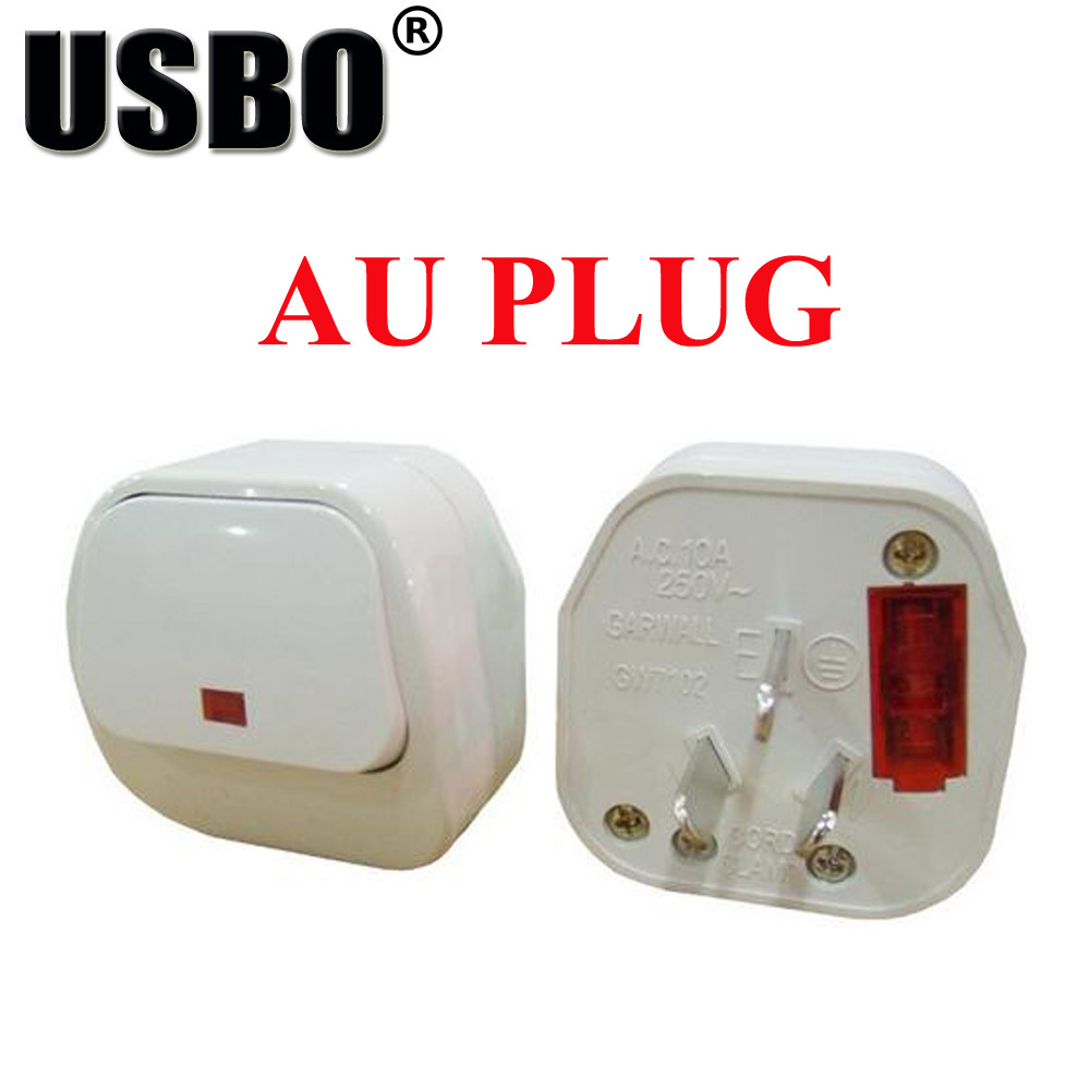 White <font><b>10A</b></font> <font><b>250V</b></font> <font><b>3pins</b></font> Australia electrical AC travel adaptor plug removable wiring power plug with insurance independent switch image