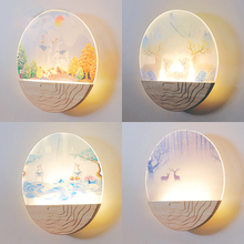 Creative LED wall lamp modern simple wood painting bedside bedroom  living room aisle lamp simple bedroom bedside led wall lamp creative aisle lamp living room snow acrylic lamp children room light free shipping