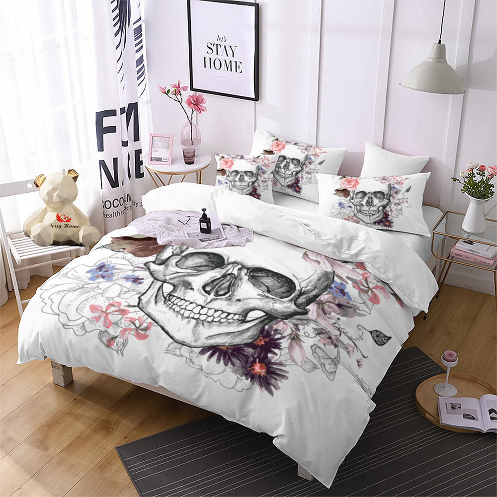 0d7886f0ade Skull Bedding Set Queen Fashion Colorful Flower Duvet Cover Set Rose  Printed White and Black Bedclothes 3pcs US AU RU Size m1855. Price  ...