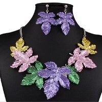 Emalia Biżuteria Ustaw Liść Choker Komunikat Naszyjnik Kolczyki Zestawy Biżuterii Srebrnej Bijoux Femme Parure Biżuteria Duftgold