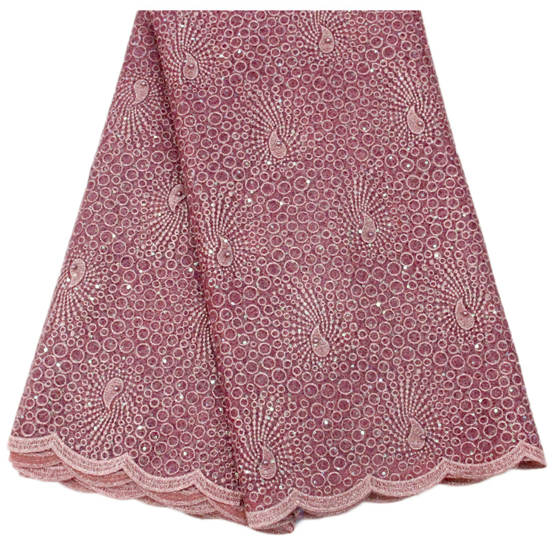 Latest Design Beaded Coral African Lace Fabric With Stones Nigerian Lace Fabric For Women Hot Selling