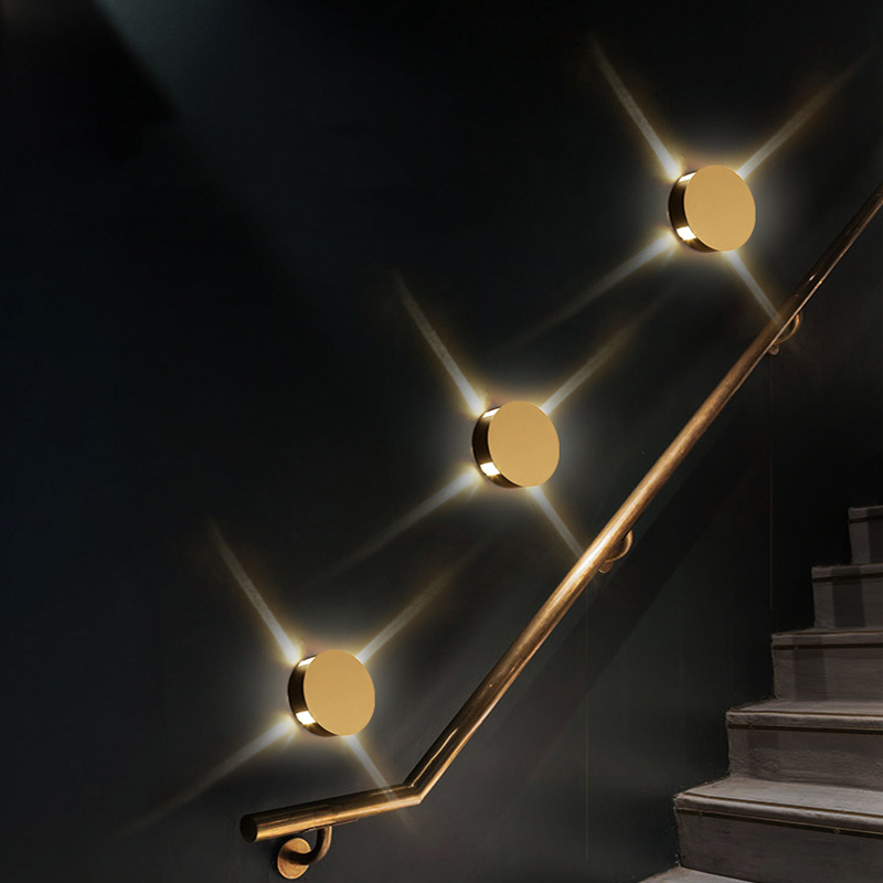 Modern creative aisle round square wall lamp bedroom bedside corridor staircase hotel project LED indoor light staircase light crystal wall lamp modern bedroom bedside aisle led lights hotel wall sconce decorative led crystal light sconces