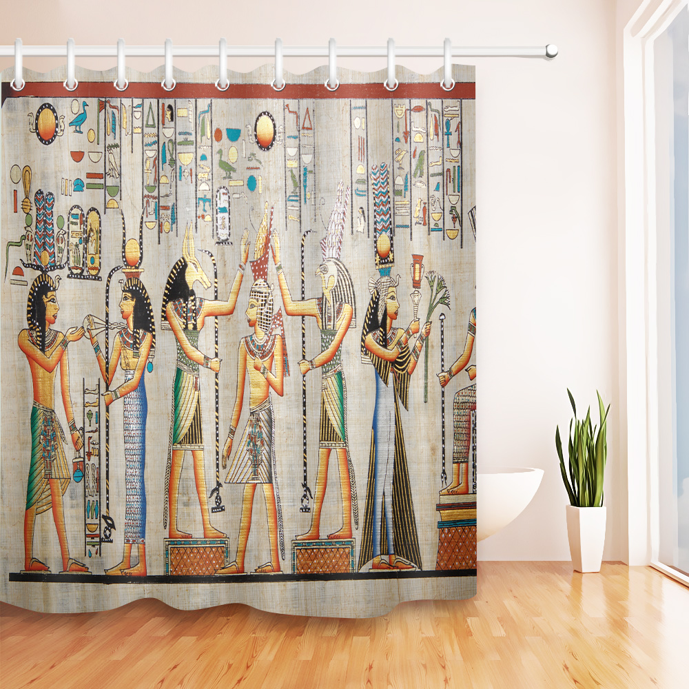LB Exotic Ancient Egyptian Myths Mural Pharaoh Wall Shower Curtain Liner Horus Anubis Party Bathroom Fabric For Bathtub Decor In Curtains From Home
