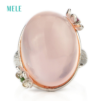 Natural Rose Quarts Silver Ring Big Oval Shape In 15mm 20mm All Clean Quality And Romantic