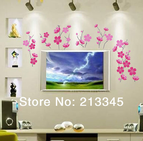 [Saturday Mall] - warm romantic Country style plant flower wall stickers home decor art murals tree wall sticker 5015