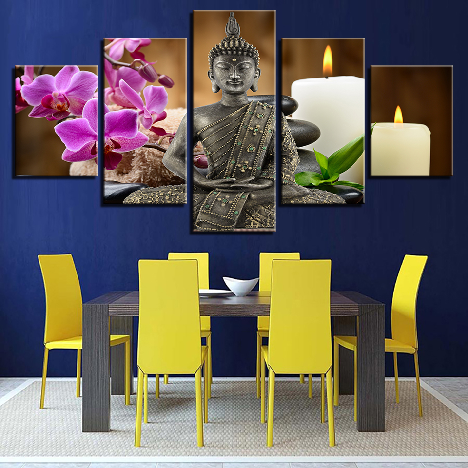 Framework Modern Living Room Decorative Artwork 5 Panel Buddha Candles Flowers Wall Art Poster Modular Picture Canvas Painting