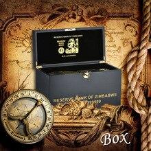 WR 1000 шт Zimbabwe Виа позолоченная банкнота 100 трлн долларов с изысканный деревянный чехол праздничные подарки поддельные бумажные деньги коробка