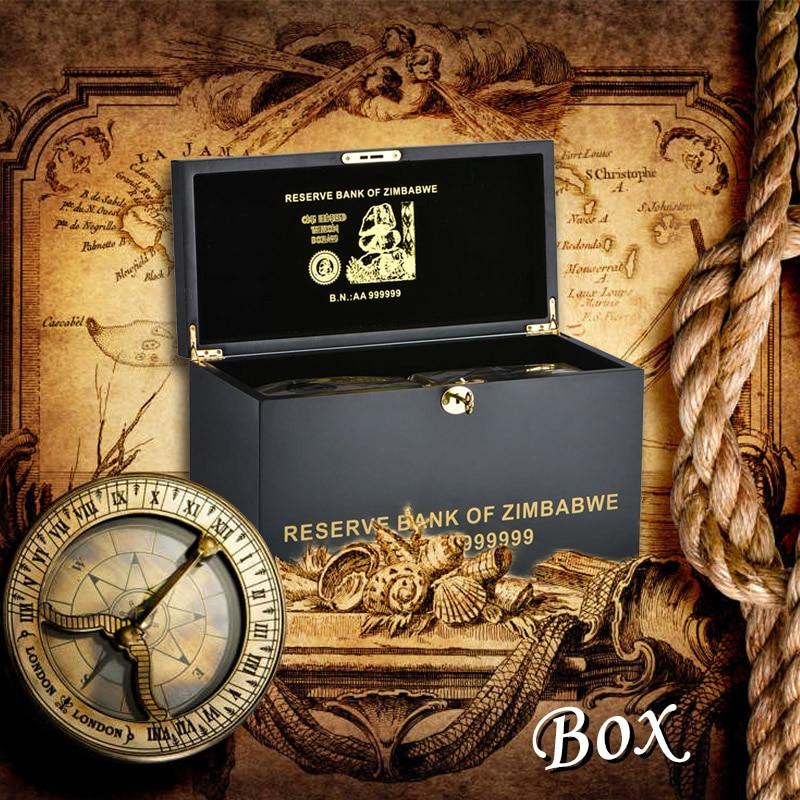 WR 1000 pièces Zimbabwe plaqué or billet de banque 100 billion de Dollars avec une exquise caisse en bois vacances cadeaux faux papier tirelire