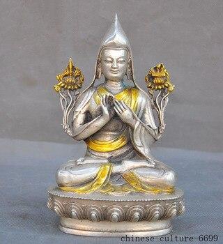 Рождественский Старый тибетский буддистский храм Серебряная позолоченная гуру Padmasambhava Rinpoche статуя Будды Хэллоуин