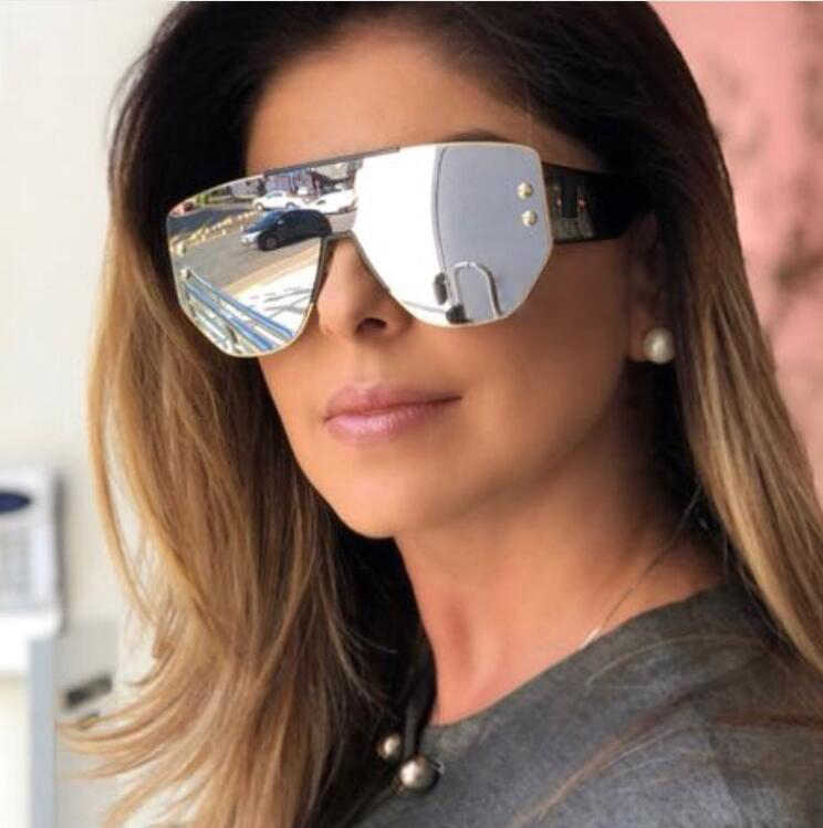 806bf5562 HBK Women Fashion Square Sunglasses 2019 New Trendy Style Big Frame Mirror  Eyewear Shades Glasses For