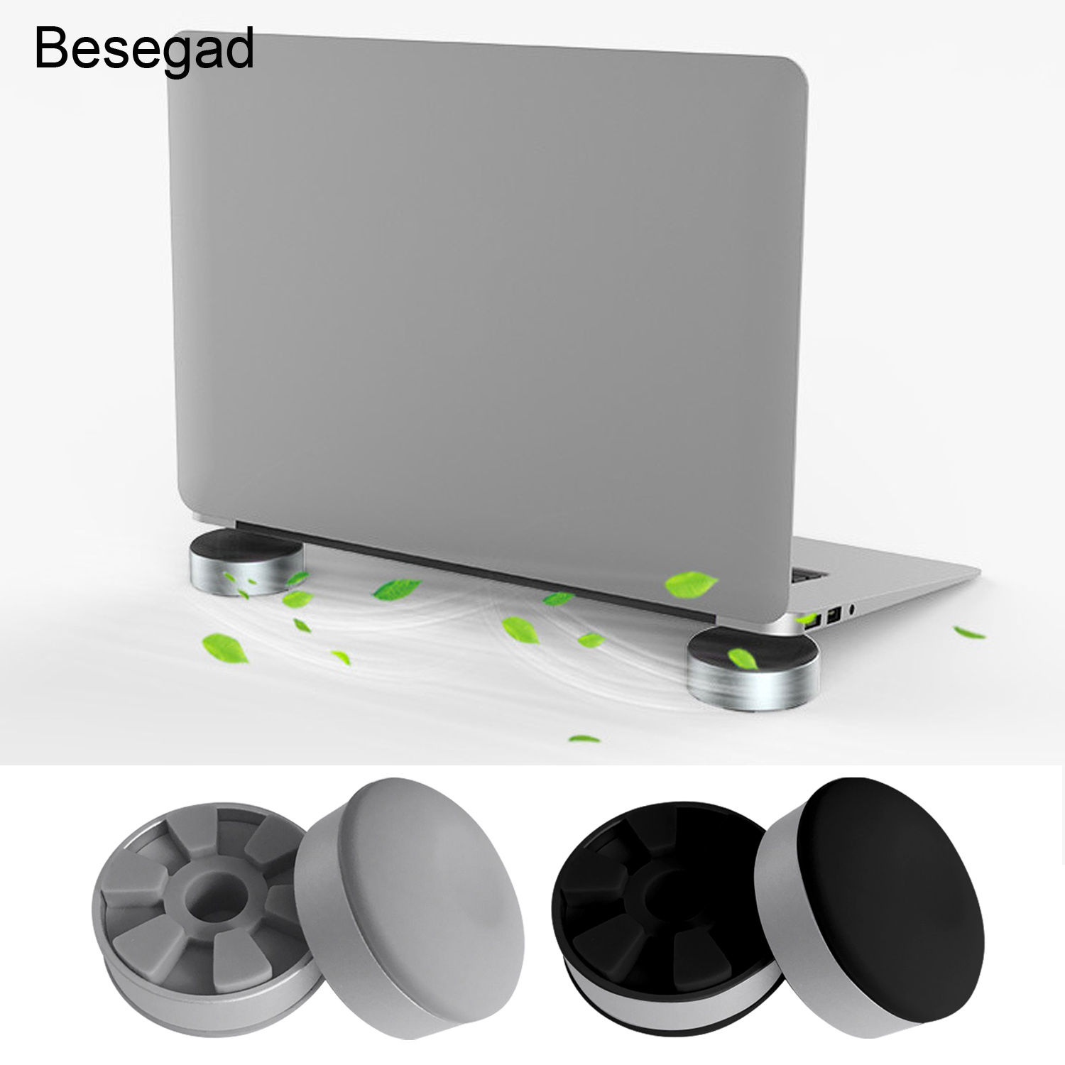 Besegad 2pcs Aluminum Alloy Cooling Pads Rubber Non-Slip Foot Pad for Apple MacBook Pro Mac Book Samsung Lenovo Laptop Notebook