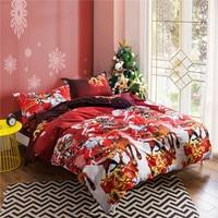 Kekegentleman 3D Christmas Bedding Set Rose Santa Claus Reindeer Deer Duvet Cover Set Pillowcase For Kids Children Gift