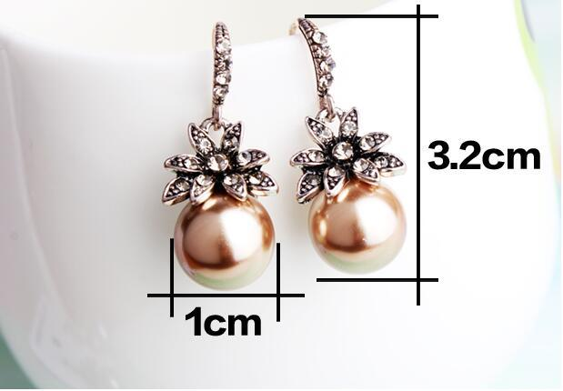 New Fashion Luxury Vintage Sun Flower Pearl Drop Earrings For Women Fine Jewelry Accessory Brincos High Quality XY-E144 4