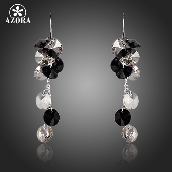 AZORA Elegent Queen Cluster Stellux Austrian Crystal Fashion Drop Earrings TE0148