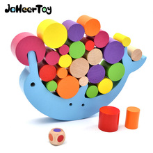 JaheerToy Geometric Assembling Blocks Baby Wooden Toys for Children Montessori Educational Toy Dolphin Balance Block for Kids