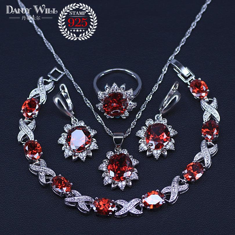 Bridal Jewelry Sets Cheap Price Four Piece 925 Sterling Silver Women Wedding Jewelry Sets Red Garnet Flower Ring Size 6/7/8/9/10 Bracelet Length 18cm-20cm