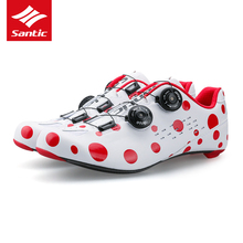 Santic Cycling Shoes Road 2018 Men Lock Bike Shoes Ultralight Carbon Fiber Self-locking Bicycle Road Shoes Sapatilha Ciclismo