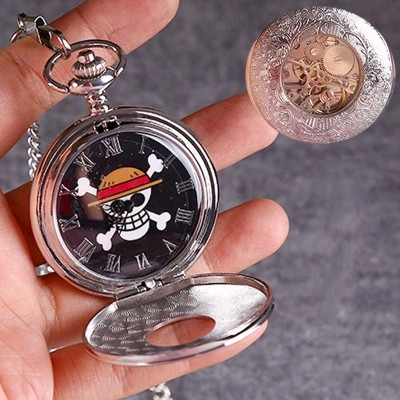 Anime ONE PIECE Luffy Automatic Mechanical Pocket Watch Cosplay Accessories Flipping Mechanical Pocket Watch