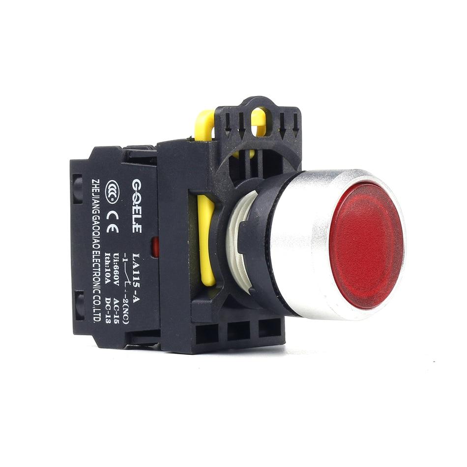5 PCS Push button switch Flush button LED Latching IP65 1NO 1NC 1NO+1NC 2NO 2NC LA115-A2-11D-G28 5pcs pb05a black 7mm 2pin 1no latching on off mini push button switch