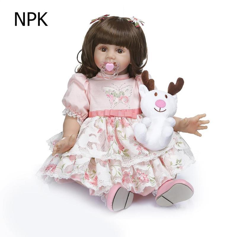 NPK 60 см моделирование прекрасная Девочка Кукла Новорожденный Возрожденный игрушка подарок Детская игрушка на день рождения