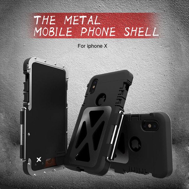half off 60f0f cd2ee US $37.2 |Original R JUST Case for iPhone X Stainless Steel Flip Aluminum  Alloy Cover full Body Armor Hybrid Shockproof Bumper Back Cover-in Fitted  ...