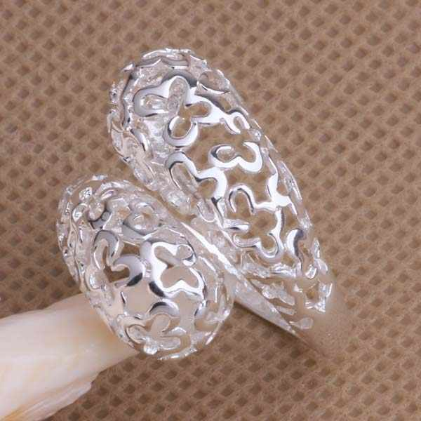 2016 Fine Jewelry Hollow Opening Rings Party Anniversary Silver Plated Cocktail Ring AR041