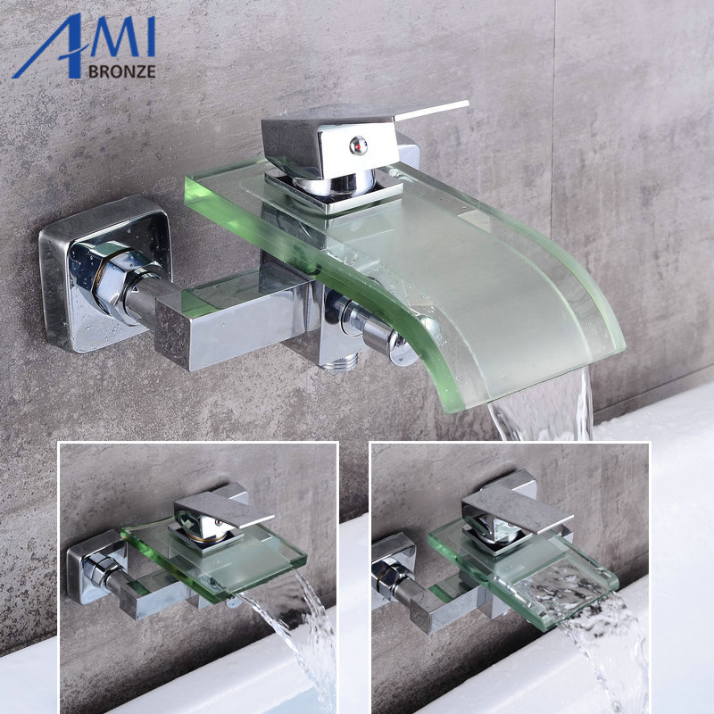 Luxury Bathroom Great Waterfall Bathtub Chrome Brass mixer Glass spout in wall Faucet