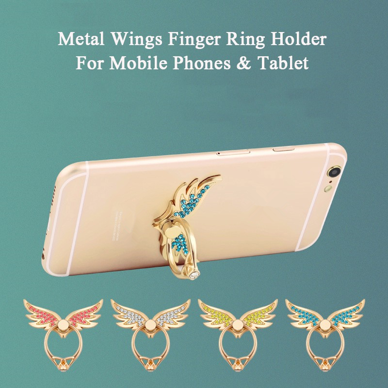 2019 Angel  Wings Diamond 360 Degree Finger Ring Socket Buckle Stand Ring Holder For Mobile Phone Universal Smartphone Support