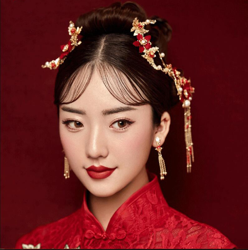 Traditional Chinese Gold Flower Red Pearl Hairpins Hair Stick Wedding Bridal Coronet Hair Jewelry Hair Accessories 2
