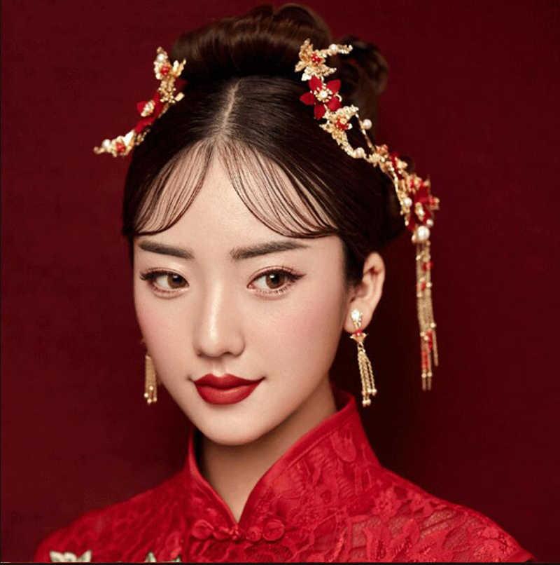 HIMSTORYแผนจีนทองดอกไม้สีแดงมุกH Airpinsผมติดจัดงานแต่งงานเจ้าสาวผมมงกุฎเครื่องประดับผมอุปกรณ์ผม